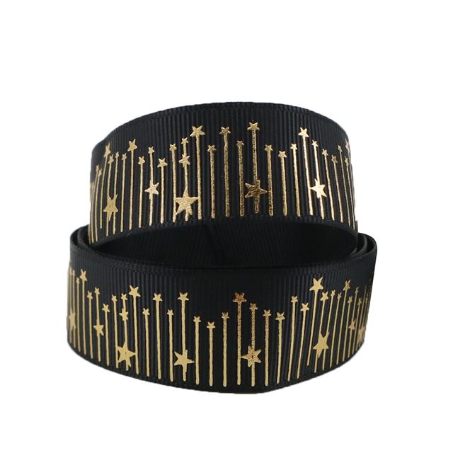 "7/8"" 22mm gold GROSGRAIN star gold ribbon"