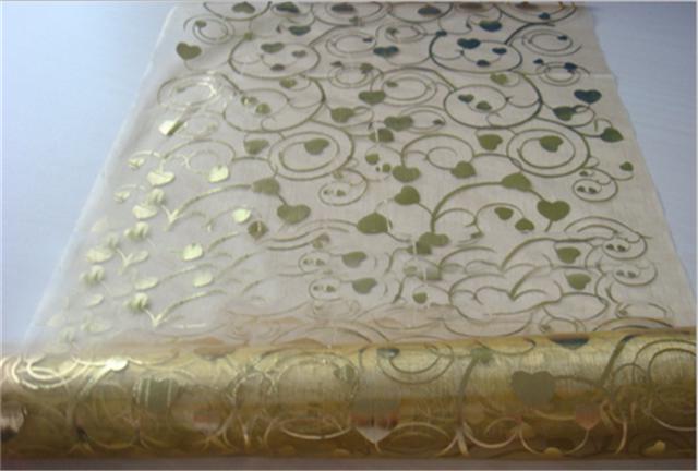 50*147CM Gauze swirls gold fabric