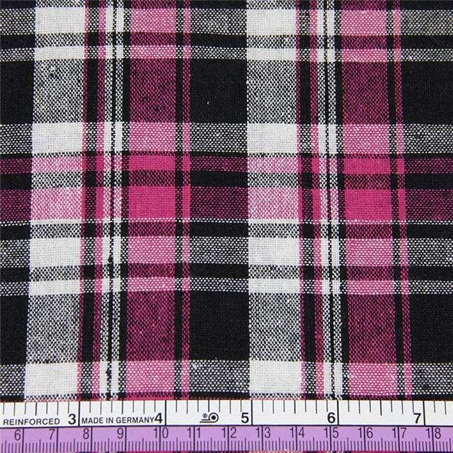 50*147CM heat transfer cotton black hotpink plaid fabric