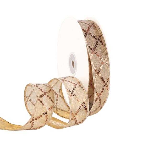 """1"""" 25mm 25mmDiamond sequins ribbon white"""