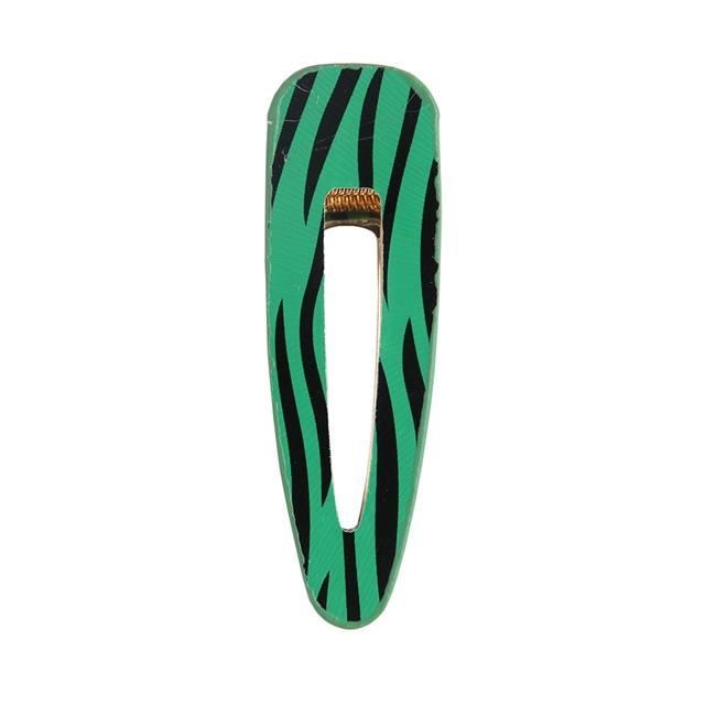 7*2.2cm Zebra print leather hair clip