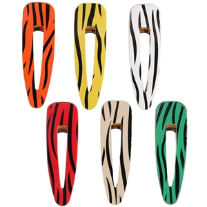 Zebra print leather hair clip