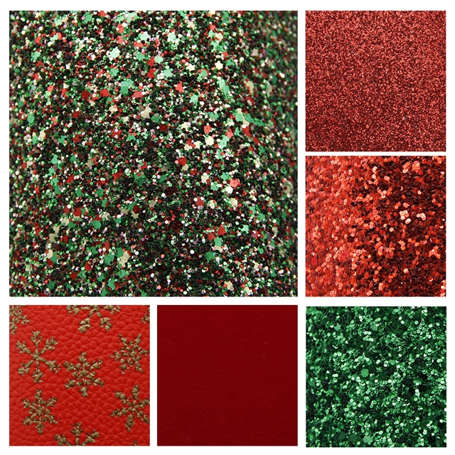 20*34cm 20*34cm synthetic leather Christmas synthetic leather set(6piece/set)