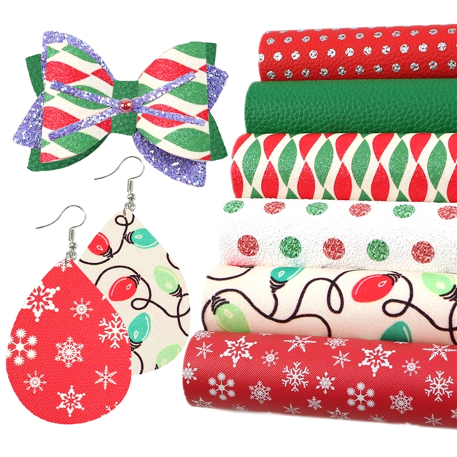 20*34cm 20*34cm synthetic leather merry Christmas synthetic leather set(6piece/set)