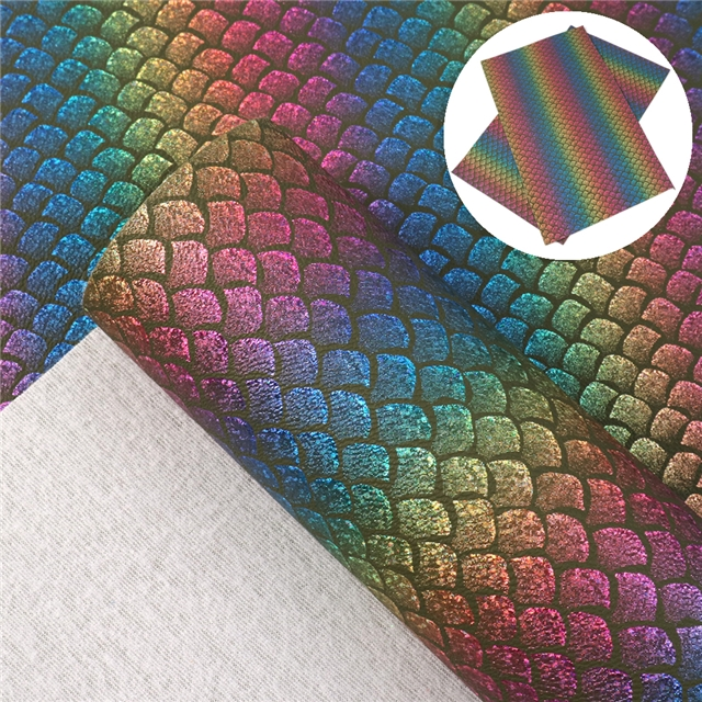 laser synthetic leather laser fish scale pattern synthetic leather