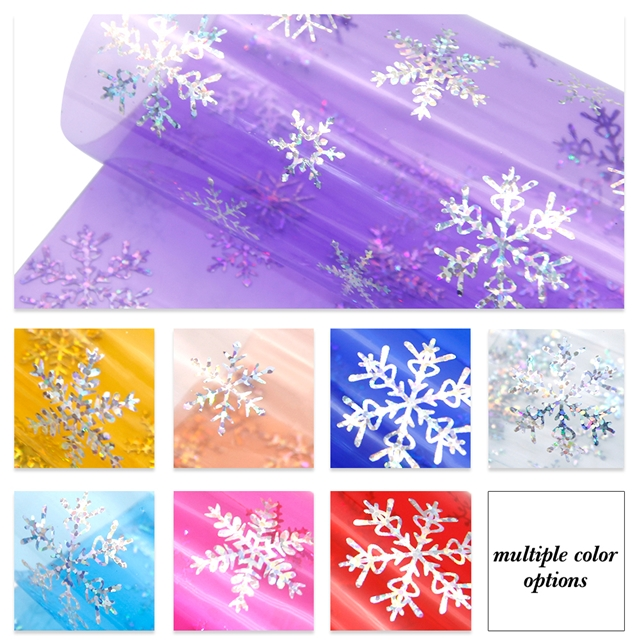 20*34cm 20*34cm synthetic leather transparent snowflake silver pu synthetic leather set(8piece/set)