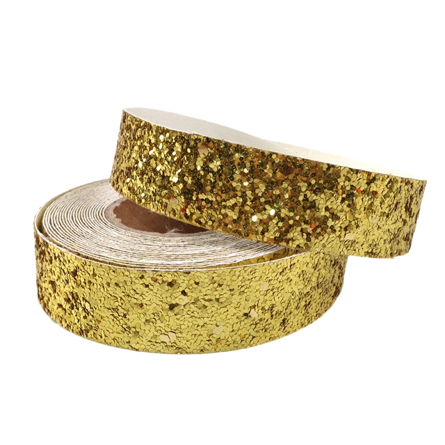 """7/8"""" glitter synthetic leather 22MM 5Y/roll synthetic leather sequins ribbon"""