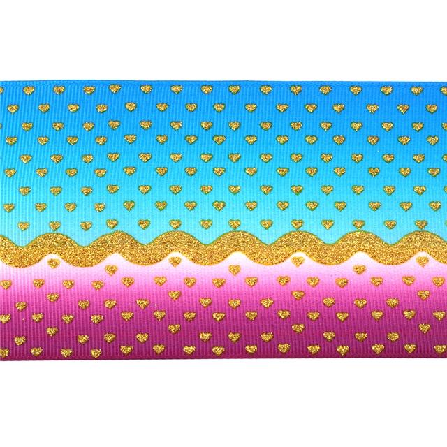 "3"" 75mm 热转印+撒粉 glitter ribbon"