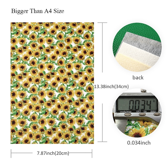 20*34cm 20*34cm synthetic leather Sunflower synthetic  leather set(10pieces/set)