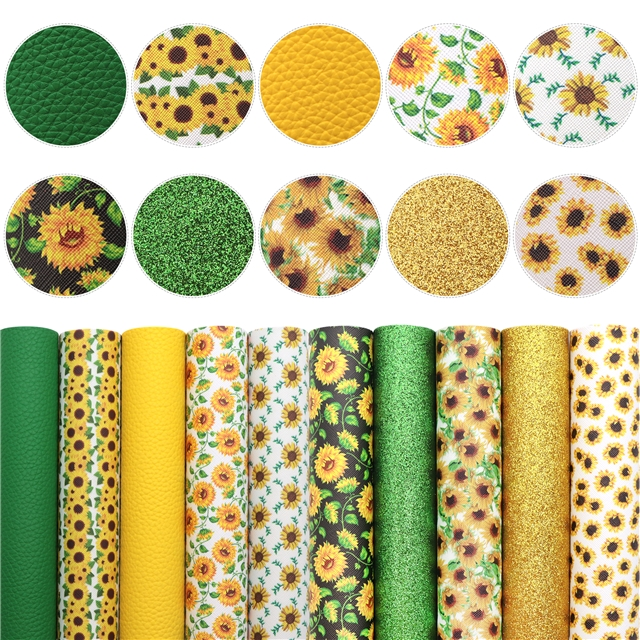 20*33cm 20*33cm sunflower yellow series synthetic leather set(10piece/set)+tool