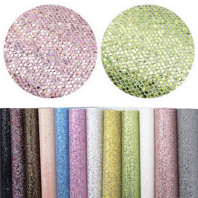 synthetic leather chunky glitter hexagon synthetic leather