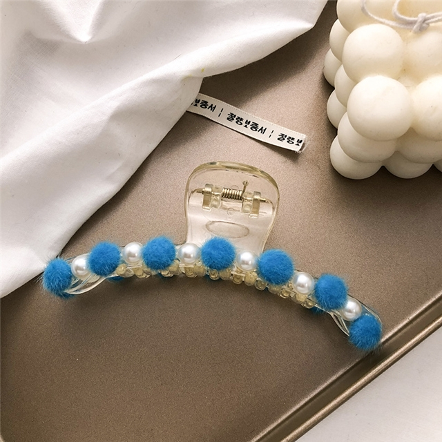 about 12cm plastic velvet pearl barrettes
