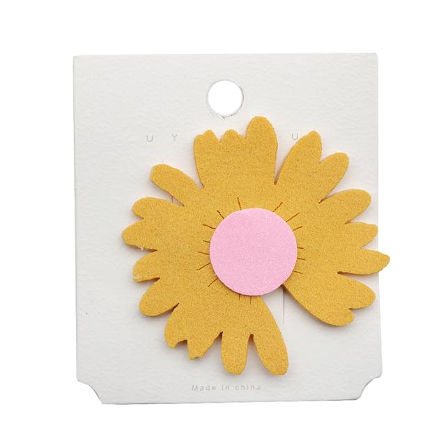 60*60mm fine glitter daisy non-woven fabric barrettes