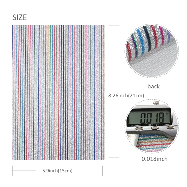 15*21cm 15*21cm synthetic leather A5 stripe fine glitter synthetic leather set(6piece/set)