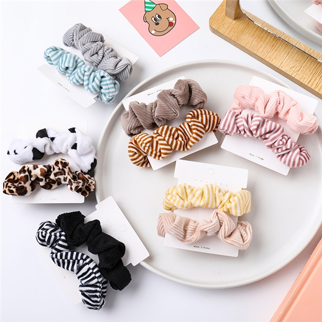 9cm fabric fabric stripe hair scrunchies