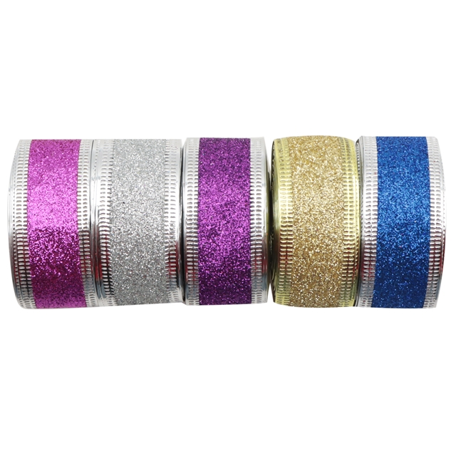 "1"" satin 25mm plain color glitter satin ribbon with wire edge"