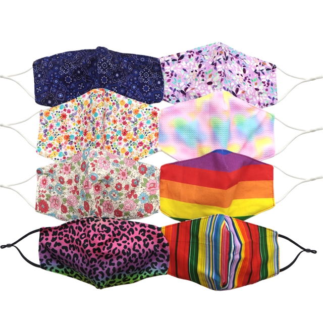 random double layer reusable washable adjustable fabric mask with pocket set(5pcs/set)