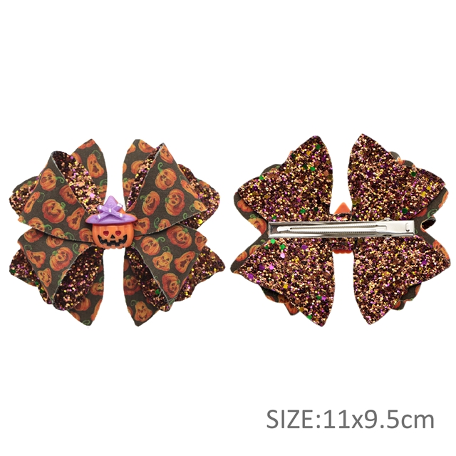 DIY halloween series double sided leather and fabric bowknot clip material package