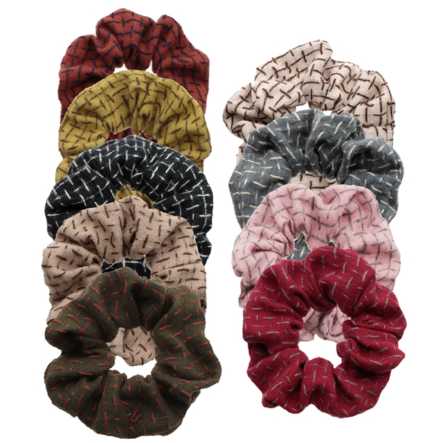linen cotton plain color hair scrunchies