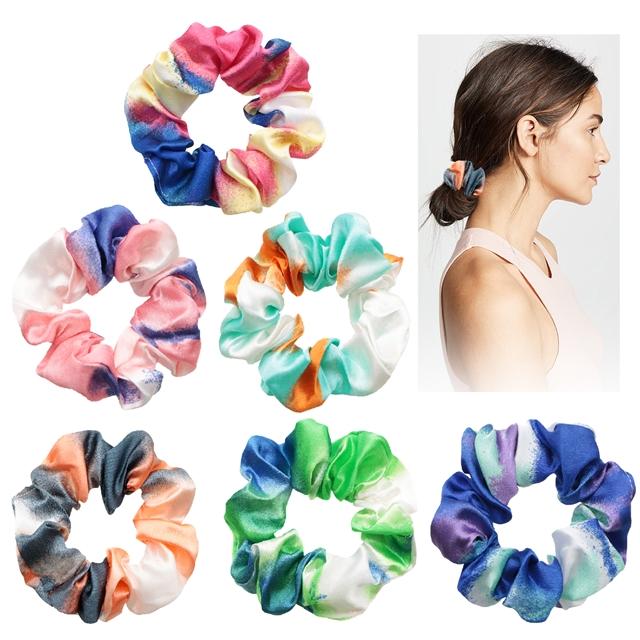 satin tie dye pattern satin fabric hair scrunchies(pattern randomly)