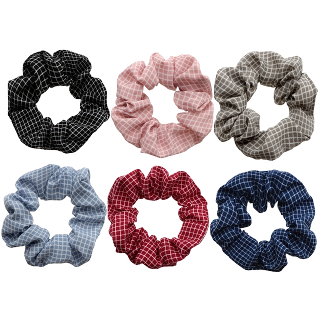 chiffon plain color little plaid hair scrunchies