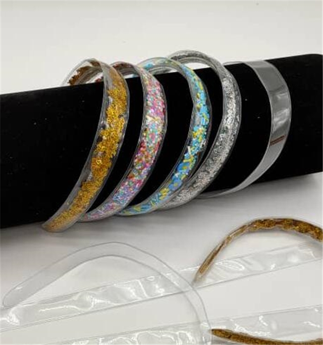2.5cm wide and 37cm long pvc transparent shaker packet hair band empty pocket (without filler)