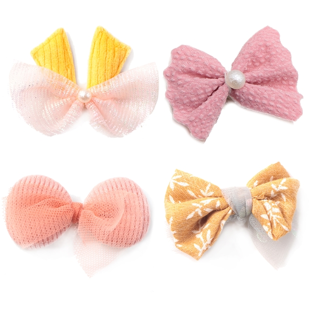 60*45mm fabric bowknot ultrasonic embossed accessories
