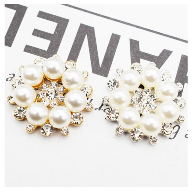 2.7*2.7cm alloy+rhinestone+pear rhinestone pearl snowflake jewelry accessories